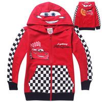 Wholesale Children autumn Coat cartoon Lightning Mcqueen car cotton hooded sweatshirts Hoodies boys jackets outwear Red Cars Boy s zipper coat New
