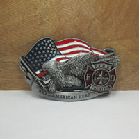 alloy department - BuckleHome fire department belt buckle with pewter finish FP suitable for cm wideth belt