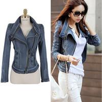 Fashion denim jackets women - 2014 Autumn and Winter Women Vintage Denim Jackets Short Paragraph Slim Zipper Outwear SF08