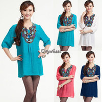 Casual Dresses Cotton,Spandex A-Line Hot Sale! 2014 New Spring and Summer Dress Plus Size Embroidered Bohemian Dress Women Shirt Blouse L XL XXL SV001260 b004-14