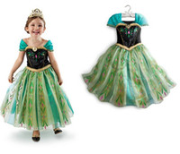 TuTu animated grass - 2014 summer Frozen dress kids party dress Animated cartoon dress baby girls long sleeved frozen elsa dress