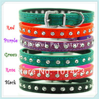 berry puppy - Berry Single Row Rhinestone Pu Leather Small Dog Cat Collars for Puppy with Bling Buckle