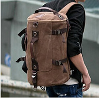 Wholesale 4 colors Men s Vintage Canvas Backpack Rucksack School Bag Satchel Hiking Bag JY71