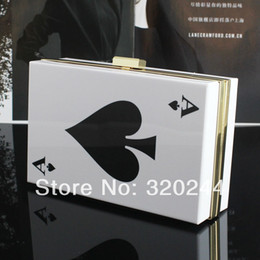 Wholesale Newest Poker Style Spade Ace Womens Clutch Fashion White Acrylic Evening Bag Ladies Handbag Purse Shoulder Bag Hard Case