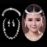 Jewelry Sets jewelry made in china - 2014 Shinning Crystal And Pearls Made In China Two Diamond Pearl Earrings Necklace Wedding Jewelry Set Bridal Accessories ZC