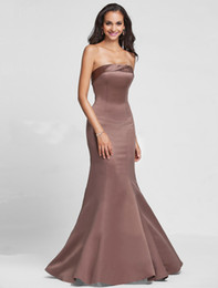 Wholesale Trumpet Mermaid Strapless Floor length Satin Bridesmaid Dress