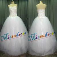 A-Line Model Pictures Sweetheart Real Image Sweetheart Beads Sequins Tulle Wedding Dresses Bridal Gowns Lace Up Corset Wedding Dress Free Shipping Custom Made