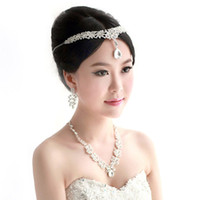 jewelry made in china - 2014 Sparkly Crystal Made In China Three Diamond Earrings Necklace Wedding Jewelry Set Bridal Accessories Bridal Headdress ZC