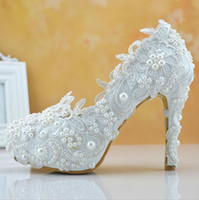 Wholesale Luxury Bridal Shoes White Lace Appliques Wedding Shoes Pearls Almond Head High Heel High Quality Charming Evening Party Banquet Dress Shoe