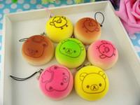 Wholesale New cm Kawaii Squishies Bun Bag Charm Color Rilakkuma Bean Rare Squishy Bread Mobile Phone Straps