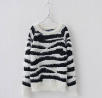 Girl fashion autumn sweater - Autumn Winter Big Size Children Girls Pullover Zebra Striped Printed Long Sleeve Knitted Sweater Childs Crochet Fashion Clothes Black M1179