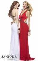 Wholesale Janique Sleeveless Prom Dress Red White V Neck Sheath Sweep Train Vintage Beaded Metal Chains Sexy Formal Gowns Party Dresses F148283