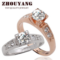 Solitaire Ring Wedding Prong setting ZYR051 CZ Diamond Classic Crystal Wedding Ring 18K Rose Gold Plated Made with Genuine Austrian Crystals Full Sizes Wholesale