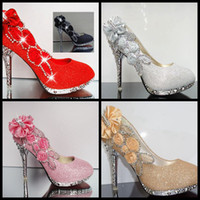 Wholesale 2014 In Stock cm Wedding Shoes High Heels Shoes Wedding Bridesmaid Shoes Party Shoe Red Pink Black Silver Gold colors