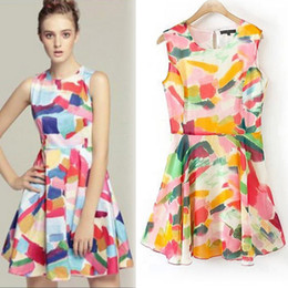 Hot sale summer dress 2014 women summer dress chiffon bright Colors sleeveless one-piece dress clothing