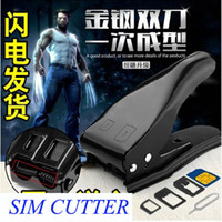 Wholesale Nano Micro Sim Card Cutter In Combo Dual Double Slot Cutters for iPhone S Samsung Galaxy S Stainless Steel with retail box