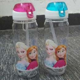 Wholesale Frozen Children Cup Cartoon Frozen Elsa Anna PP Texture Suction Cup with drinking straw water bottle