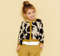 Cardigan giraffe print - Autumn Children Girl Cartoon Deer Elephant Giraffe Printed Star Button Long Sleeve Knitted Cardigan Child Crochet Sweater Coat Clothes M1181