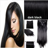 Wholesale 16 quot quot clip in hair extensions brazilian remy human hair g pack black color