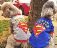 Wholesale 2014 Summer Superman Pattern Blue Grey Puppy Clothes Pet Dogs Shirts Pets Apparel Clothing Size S M L XL XXL