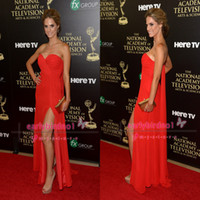 Emmy Awards annual emmy awards - 2014 The st Annual Emmy Awards Kelly Kruger Red Carpet Celebrity Dresses Sexy Sweetheart Ruffle Chiffon Side Split Prom Gowns EM4137