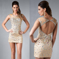 Reference Images Elastic Satin Crew Formal Champagne Mini Homecoming Cocktail Dresses Sheer Crew Neck Beads Crystals Working Open Back Sheath Corset Modern Short Prom Gowns