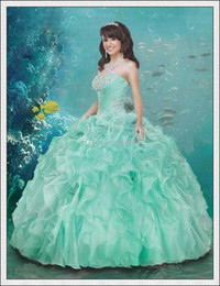 Wholesale New Arrival Exquisite Green Quinceanera Dresses Ball Gown Sweetheart Beads Lace Up Girls Prom Dresses Gowns Organza Backless Custom
