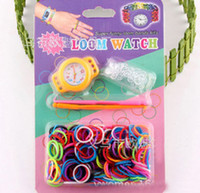 Red Round 20 DIY Knitting Braided loom Watch Rainbow Loom Rubber Bands Kits Silicone Watch Bracelet DIY Loom Watch(Watch+Bands+Clips+Hook) High Quality