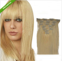 Wholesale 16 quot quot clip hair extensions indian remy human hair g pack blond hair color