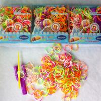 Charm Bracelets Women's Gift NEW Frozen Loom Bands Bracelet Rubber Bands Kit Bracelet for Kids Anna Elsa 1 Hook +1 Loom +1 pack S clip +300pcs mixed color bands 1705002