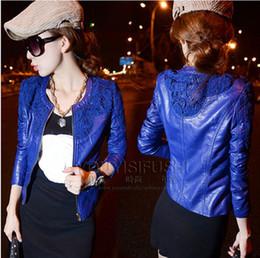 Wholesale leather jacket women blue red crochet lace slim water washed leather SHORT jacket coat