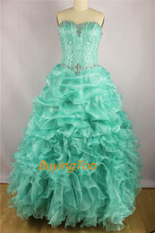 Hot Sale Blue Pink Quinceanera Dresses For Girls Floor Length Lace Up Formal Evening Gown Ruffles Prom Dresses 2014