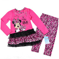 Girl Spring / Autumn Long Free shipment wholesale(4sets lot) Children Kids baby girls Minnie clothing set with a long sleeve dress and a legging 4 to 7 years