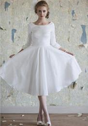 Hot Sales Tea Length Vintage Wedding Dresses Scoop Neckline Ruffles A-Line Taffeta 3 4 Long Sleeve Short Bridal Gowns Custom Made