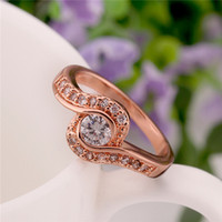 With Side Stones Asian & East Indian Women's Fashion jewelry 18k gold wedding rose gold lovers rings jewelry wholesale jewelry sets rings gold plated gift jewelry free shipping