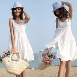 2014 Summer Sleeveless Multi-Layer 100% Cotton Beach Dress White Spaghetti Strap Women One-piece Dress White Color Dress Female