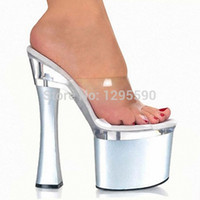 Wholesale Silver Transparent Platform Sandals cm High Heeled Shoes Sexy Hand Made Stripper Shoes Inch Stiletto With Platform