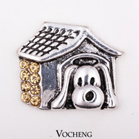 Clasps & Hooks wholesale bulk jewelry - VOCHENG NOOSA Bulk Dog With House Crystal Snap Charms Jewelry Interchangeable Jewelry Accessory for Women Vn
