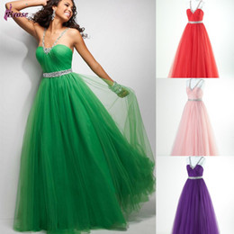 Wholesale STK New Formal Sexy Beaded Backless Spaghetti Strap Tulle Ball Gown Bridesmaid Dress Evening Dress Prom Gown