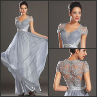 Reference Images Sweetheart Chiffon Modern Sexy Long Prom Dresses Sweetheart Silver Chiffon With Lace Cap Sleeves 2014 Hot Sale A-line Evening Party Gowns With Belt