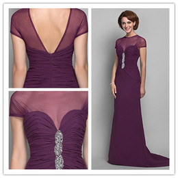 2019 full new Exquisite Fashion crew chiffon handmade beads Fold\Ruffle A-line Floor length Mother of the Bride Dresses