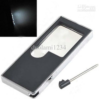 Wholesale Multifunctional in Card Design LED X X Magnifier with Money detector Mini Pen HUI free shiping