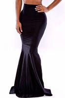 Wholesale New Women Black Long High Waist Skirt T71068 Ladies Eelgant Formal Party Evening Long Maxi Floor Length Trumpet Mermaid Skrit Gown Long