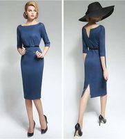 Wholesale New Elegant Pencil Backless Dress Lady Skirt Women Long Sleeve Bodycon Dress S XXL Size Navy Blue Color S0455
