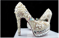 Wholesale 2014 Luxury wedding shoes wedding shoes Slipper pearl bridal shoes waterproof Taiwan high heels shoes party shoes dress shoes show