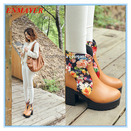 ENMAYER New 2014 Arrival Flower Print High Heels Motorcycle Boots for Women Snow Spring Winter Shoes Platform Ankle Boots