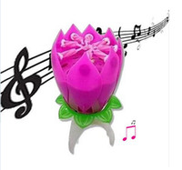Wholesale Music Candle Blossom Lotus Flower Candle Light Birthday Party Music cake candle Sparkle musical Candle Lotus style with Retail packaging