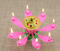 cake candle - Lotus Flower Music Candle Beautiful Blossom Lotus Flower Candle Birthday Party Cake Music Sparkle Cake Topper Rotating Candle
