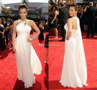 Reference Images Crew Chiffon 2014 Kim Kardashian Dresses Sexy Plus Size Evening Dresses A-Line Halter Backless Prom Dress Pageant Dress Gowns Chiffon Beads