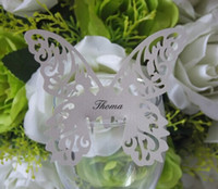 Wholesale 102pcs Silver Butterfly Place Name Card Cup Paper Card Table Mark Wine Glass Wedding Favors Party Decor